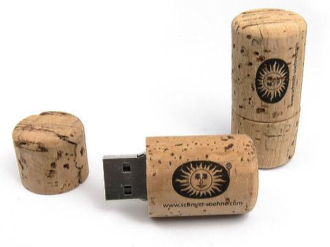 USB-Stick Korken-02 Oeko bio braun bedruckt, USB-Korken.02