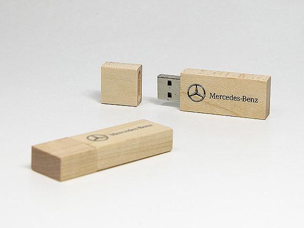 USB-Stick Mercedes Benz eckiger Holz Stick, deckel, Holz.01, famous,