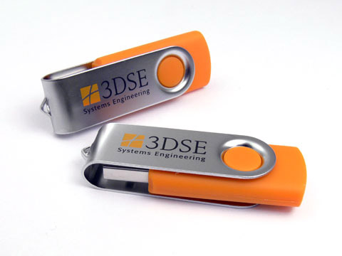 USB-Stick Metall01 orange mit Logo 3DSE, Metall.01
