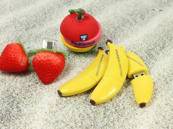 USB Stick custom Lebensmittel logo werbegeschenk banane apfel erdbeere obst