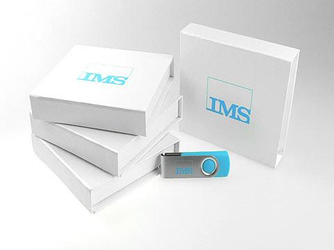 USB-Stick in Firmenfarbe bedruckt Logo, Metall.01
