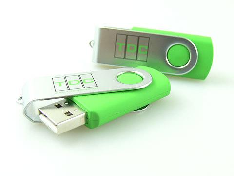 USB-Stick in Sonderfarbe mit Aufdruck gruen, Metall.01