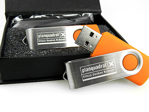 USB-Stick orange Metall.01 Lasergravur planquadrat, Metall.01