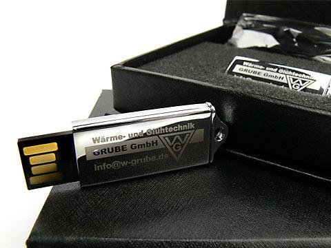 USB-Stick silber hochglanz mini Grube, Mini.09