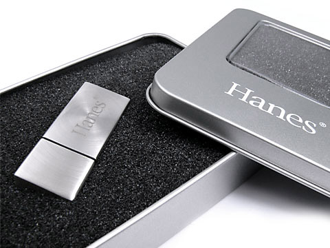 USB-Stick silber matt Hanes, deckel, Metall.09