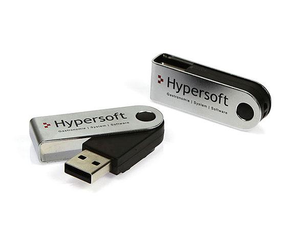Sway. USB-Stick mit Metallbügel. Mit Logo als Werbegeschenk