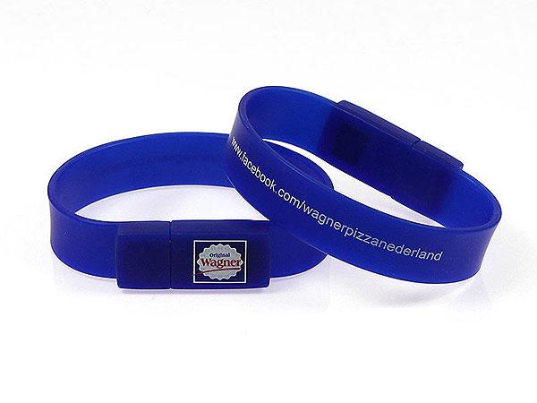 USB Armband mit Aufdruck, USB Armband.01 blau