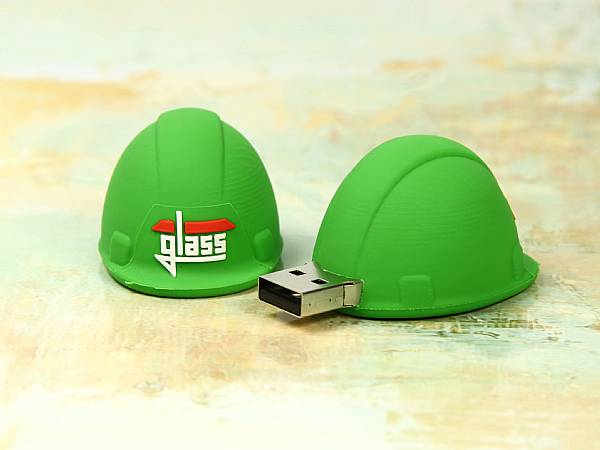 Werbeartikel USB Stick Bau Bauhelm glass gruen architekt