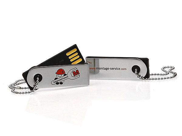 montage service international mini usb stick klein silber bedruckt