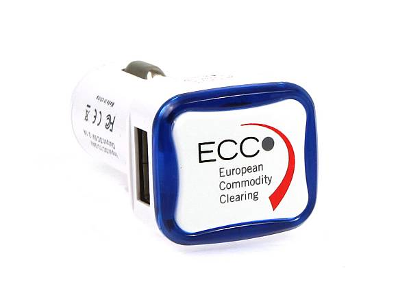 adapter auto zigarettenanzuender usb car charger blau logo