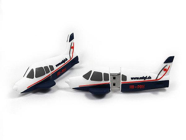 Kleinflugzeug, Privatmaschine, Airplane, Transport, weiß, blau, , CustomProdukt, PVC, USB Flugzeug