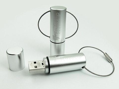 Aluminium USB-Stick gravur silber matt schlüsselanhänger, Alu 14