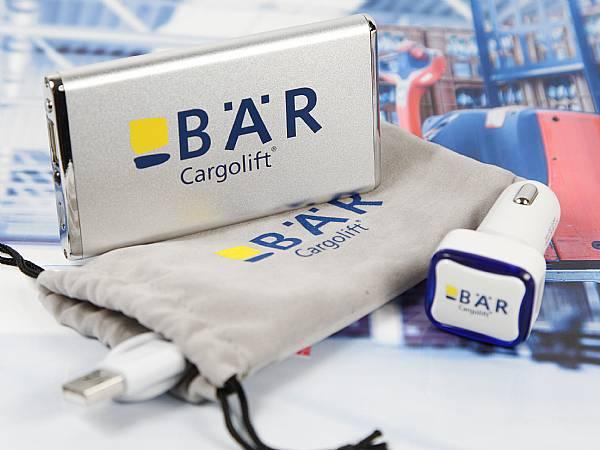Bär Powerbank USB Car Chager logo druck set samt säckchen textilbeutel
