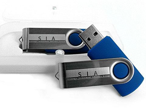 Blauer Swing-Buegel USB-Stick Werbegeschenk, Metall.01