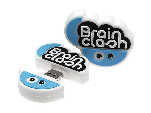 Brain Clash USB-Stick Logo Sonderform sonderanfertigung blau lustig