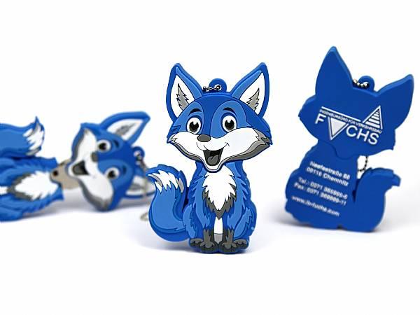 Creative USB Stick Figur individuell fuchs blau logo