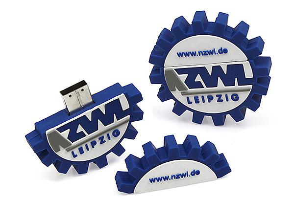 ZWL Leipzig, Zahnrad, USB-Stick, sonderform, Freiform, individuell, blau, Logo als USB Stick