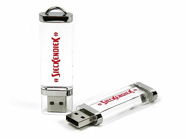 Crystal USB Stick mit Logo bedrucken Aufdruck Druck Firmenlogo werbegeschenk