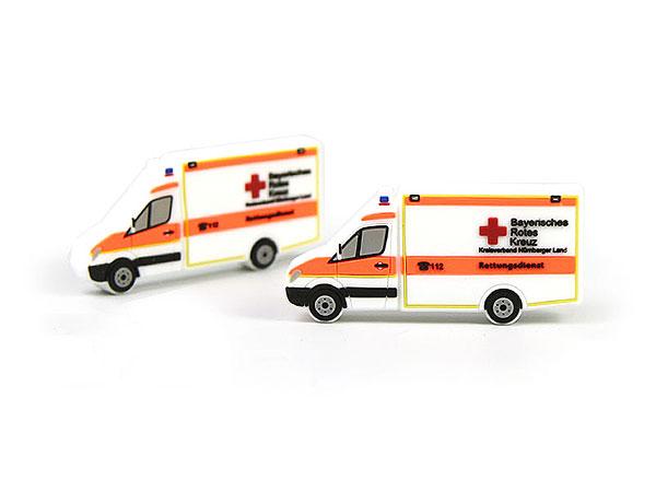 drk bayrisches rotes kreuz rettungswagen transporter weiß sonderanfertigung usb stick fahrzeug krankenwagen
