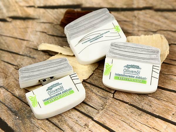 custom usb stick creme tiegel mit logo olivenöl kosmetic pharma