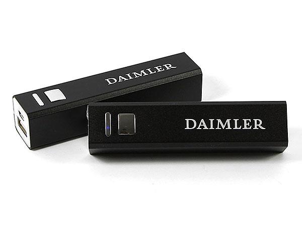 schwarz powerbank Daimler Lasergravur