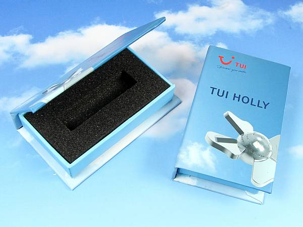 Dongle Box blau bedruckt verpackung TUI