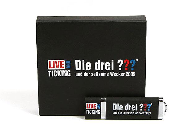 die 3 fragezeichen geschenk verpackung usb-stick bedruckt, K01 Magnetklappbox