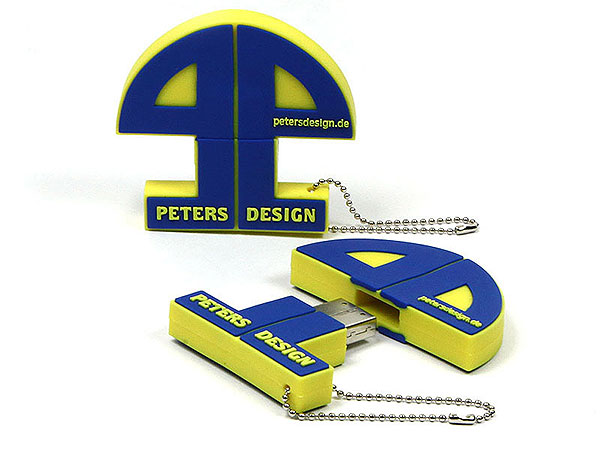 usb-stick-logo-freiform-100.html, Firmenlogo, Kundenlogo, Firma, blau, gelb, CustomLogo, PVC
