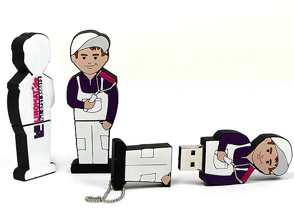 USB - Folks, People, Figur, Maler, Handwerker, Menschen, CustomModifizierbar, PVC, USB Menschen, Männchen