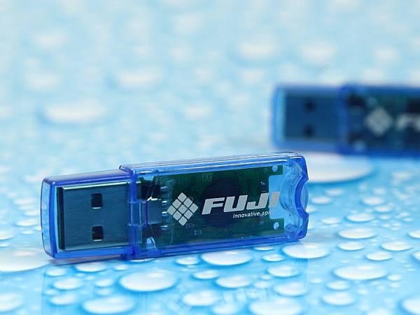 fuji usb stick mit logo druck transparent blau
