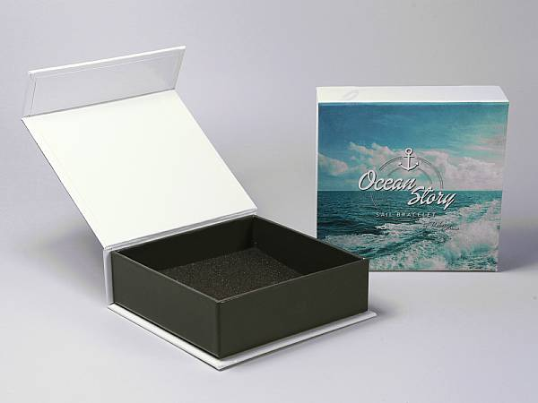 geschenkverpackung box weiss logo farbig druck