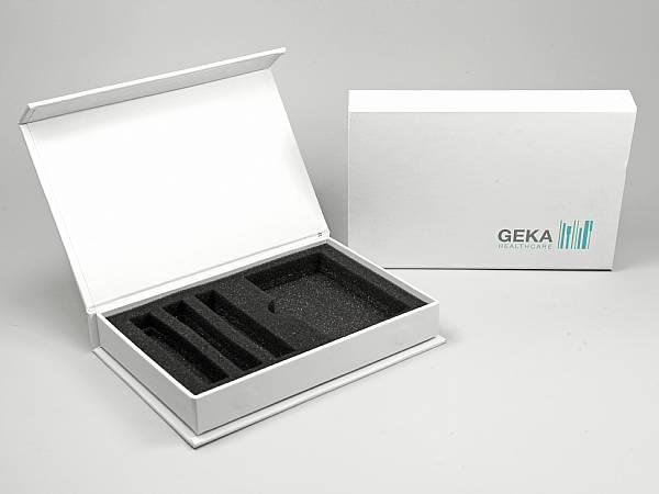 geschenkverpackung box weiss logo