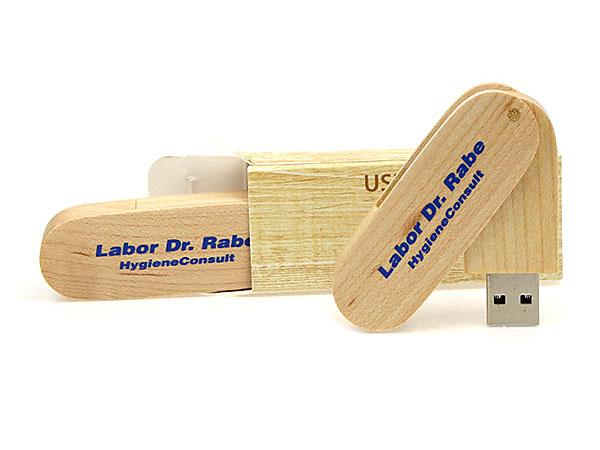 Dr. Rabe Labor USB-Stick Faltschachtel Holz hellbraun bedruckt