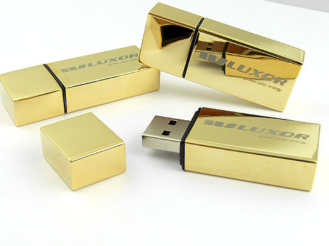 Goldener USB-Stick graviert luxor hochwertig, Metall.10