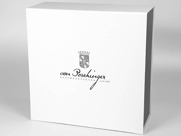 grosse verpackung glas geschenkbox aufdruck hochglanz
