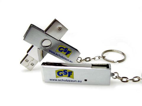 GSF USB-Stick twister swing buegel bedruckt schlüsselanhänger, Metall.05