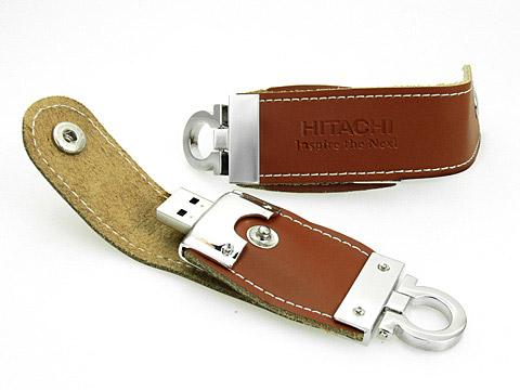 hitachi usb-stick aus leder praegung Schlüsselanhänger, Leder.03