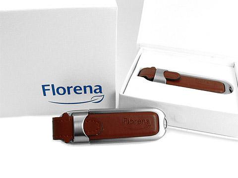 Hochwertiger USB-Stick aus braunem Leder, Leder.02