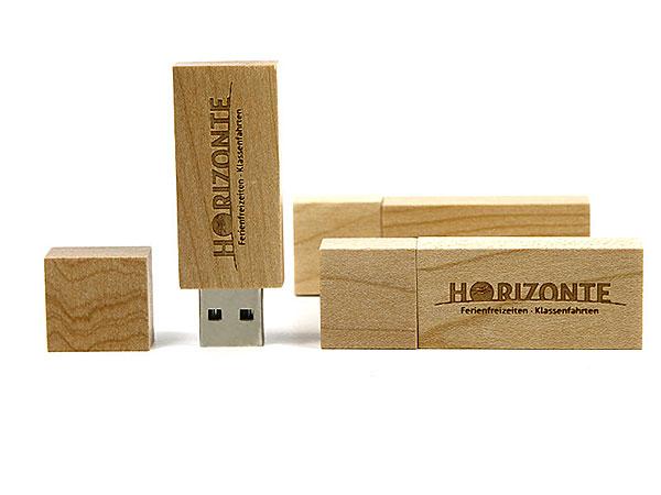 Holz USB-Stick mit Gravur, logo, horizonte, klassenfahrt, giveaway graviert