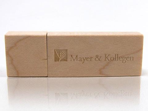 Holz USB-Stick Gravur Mayer-Kollegen, deckel, Holz.01 braun