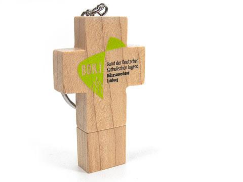 Holz-23 USB-Stick Kreuz braun kirche schlüsselanhänger, Holz.23
