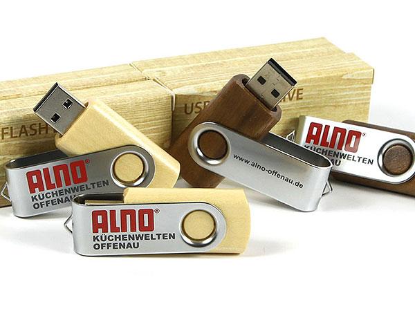 holz wood usb stick logo aufdruck druck alno firmenlogo küche