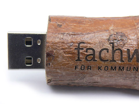 Holz USB-Stick natural graviert echtholz, Holz.21