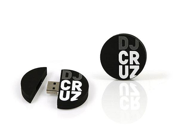 usb-stick, rund, schwarz, individuell, dj, cruz, logo