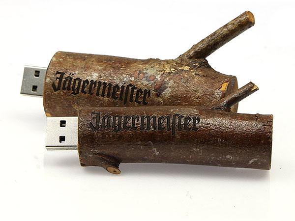 Jägermeister usb-stick Jaegermeister Holz Ast echt logo graviert Gravur Lasergravur Marke