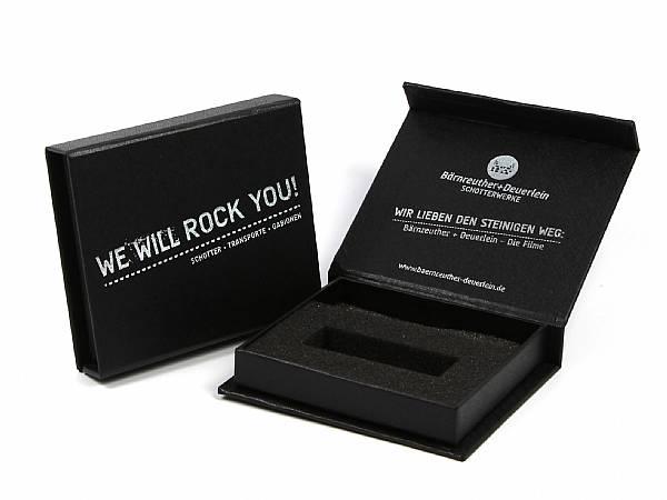 klappbox verpackung schwarz rock logo aufdruck druck