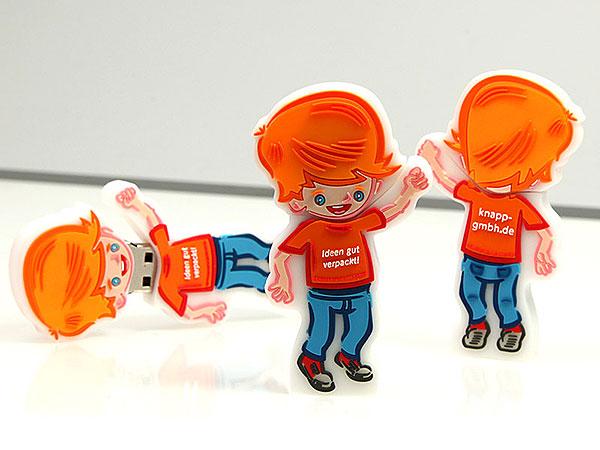 usb-menschen-100.html, USB-Stick, Knappolino, Kartonveredlung Knapp GmbH, Männchen, Figur, Mensch, Maskottchen, Junge, Mann, orange, Slogan