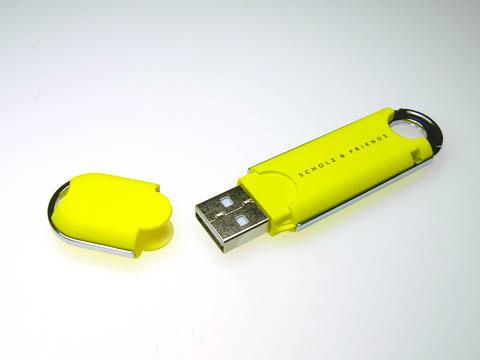 Kunstoff USB-Stick gelb Werbegeschenk, Kunststoff.02