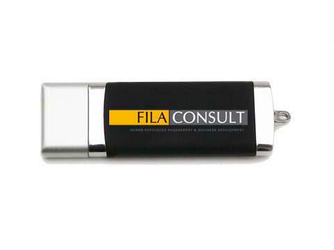 Kunststoff-USB-Stick schwarz-silber bedruckt, Kunststoff.10