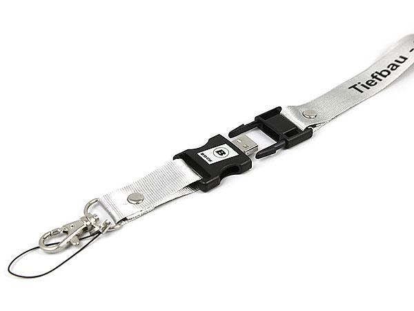 Schlüsselband USB-Stick bedruckt Lanyard USB Aufdruck Logo Tiefbau